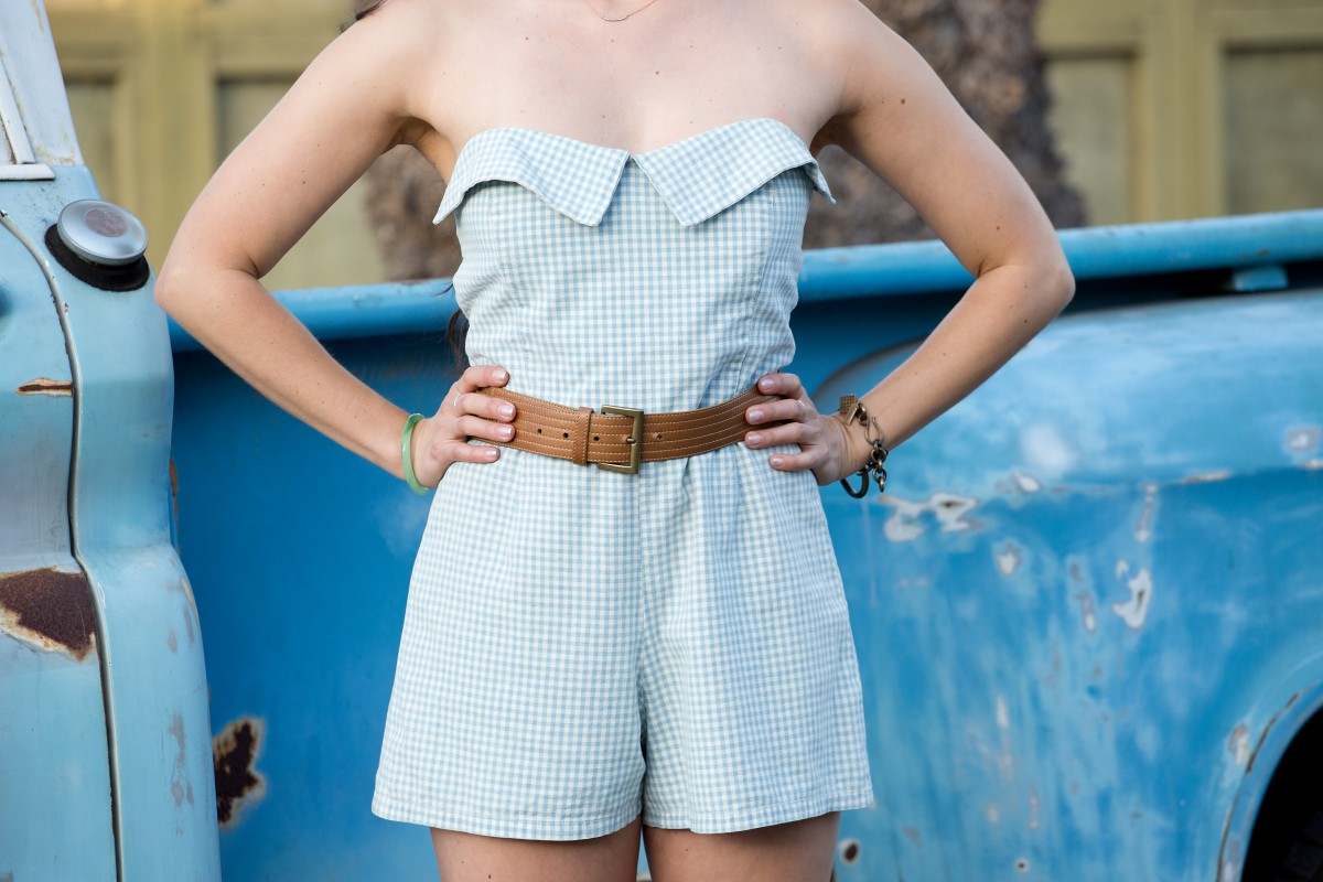 mudflap girl, la model, style blog, fashion blogger, current/elliott, romper, pickup truck, los angeles, venice beach
